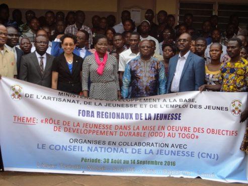 Lancement fora 1 493x370 - Les fora régionaux de la jeunesse 2016 sont lancés à Tsévié