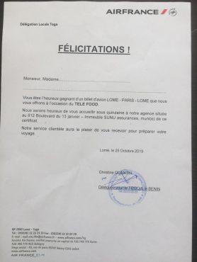 IMG 20191106 WA0087 278x370 - Tombola Téléfood : unbillet d'avion Lomé - Paris - Lomé attend son preneur