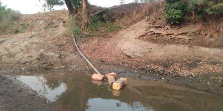 Vue partielle du point de branchement de la Tde dans le fleuve Anie PHOTO 4 - Togo/ Pénurie d'eau à Anié: la situation se normalise